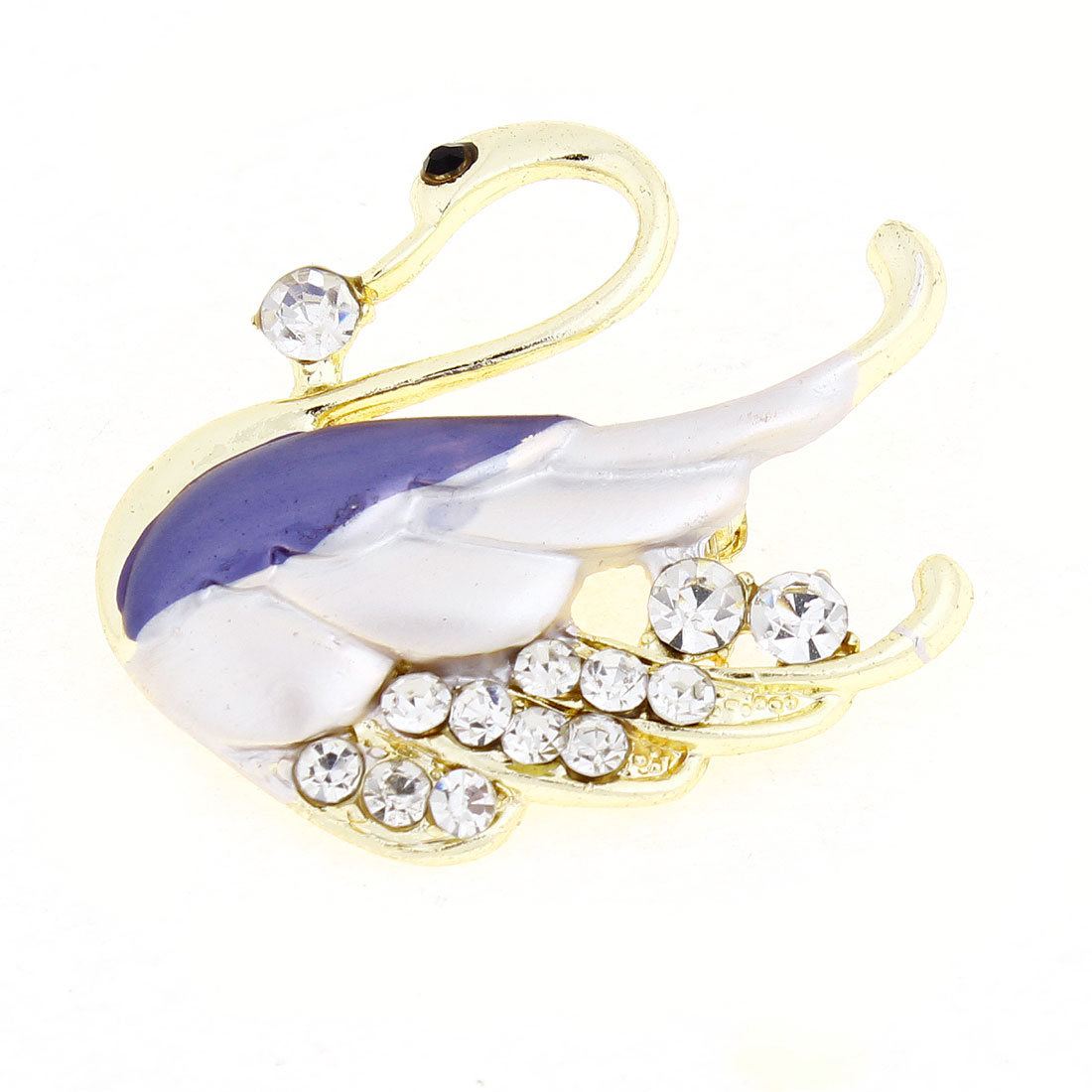 Lady Shiny Rhinestone Wing Swan Detail Safety Pin Brooch Breastpine Purple