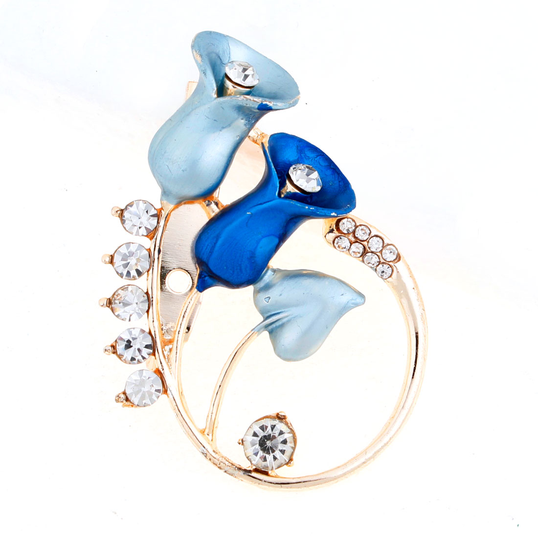 Shiny Rhinestones Accent Pin Brooch Breastpin Blue for Ladies