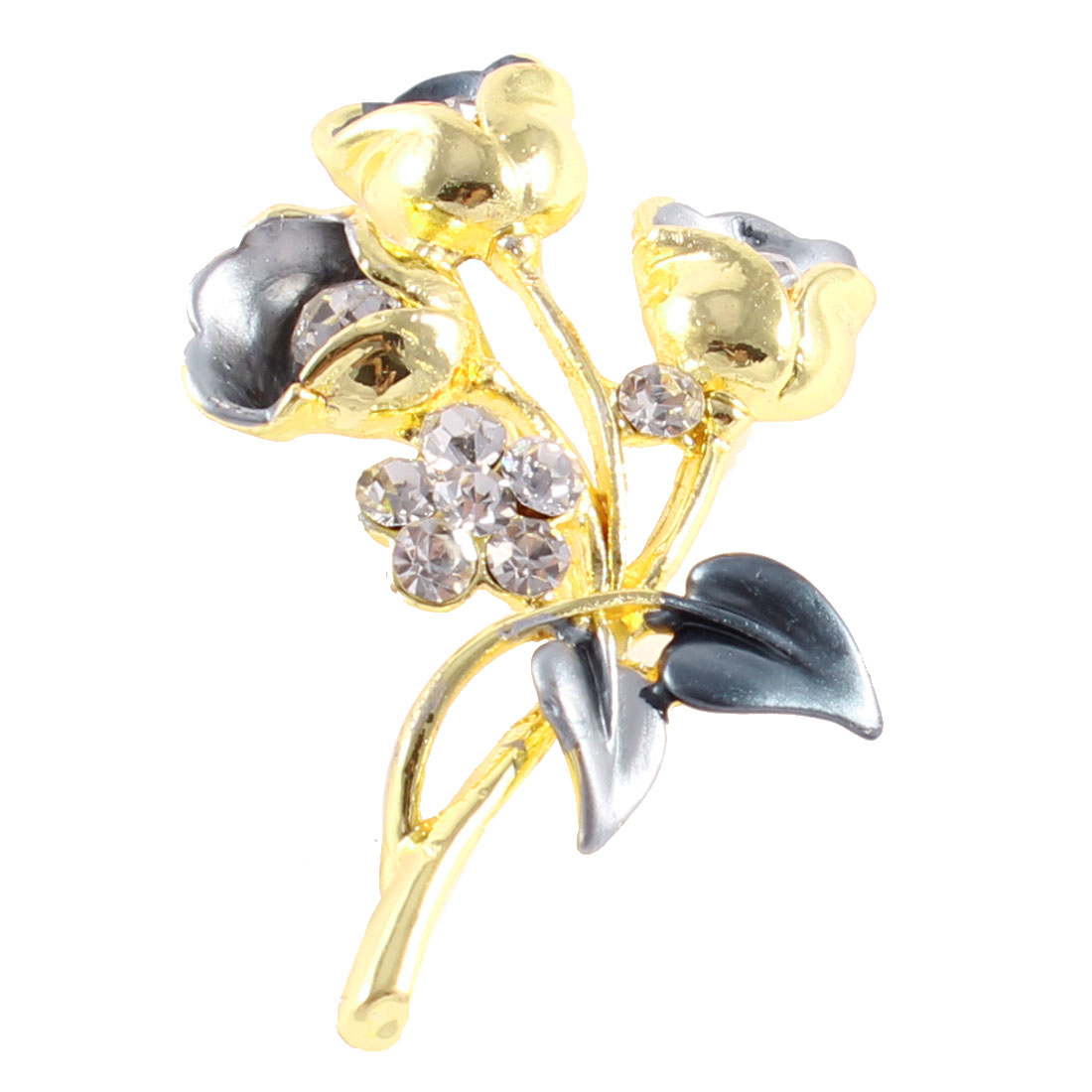 Shiny Rhinestone Detail Metal Florals Shape Safety Pin Brooch Gold Tone