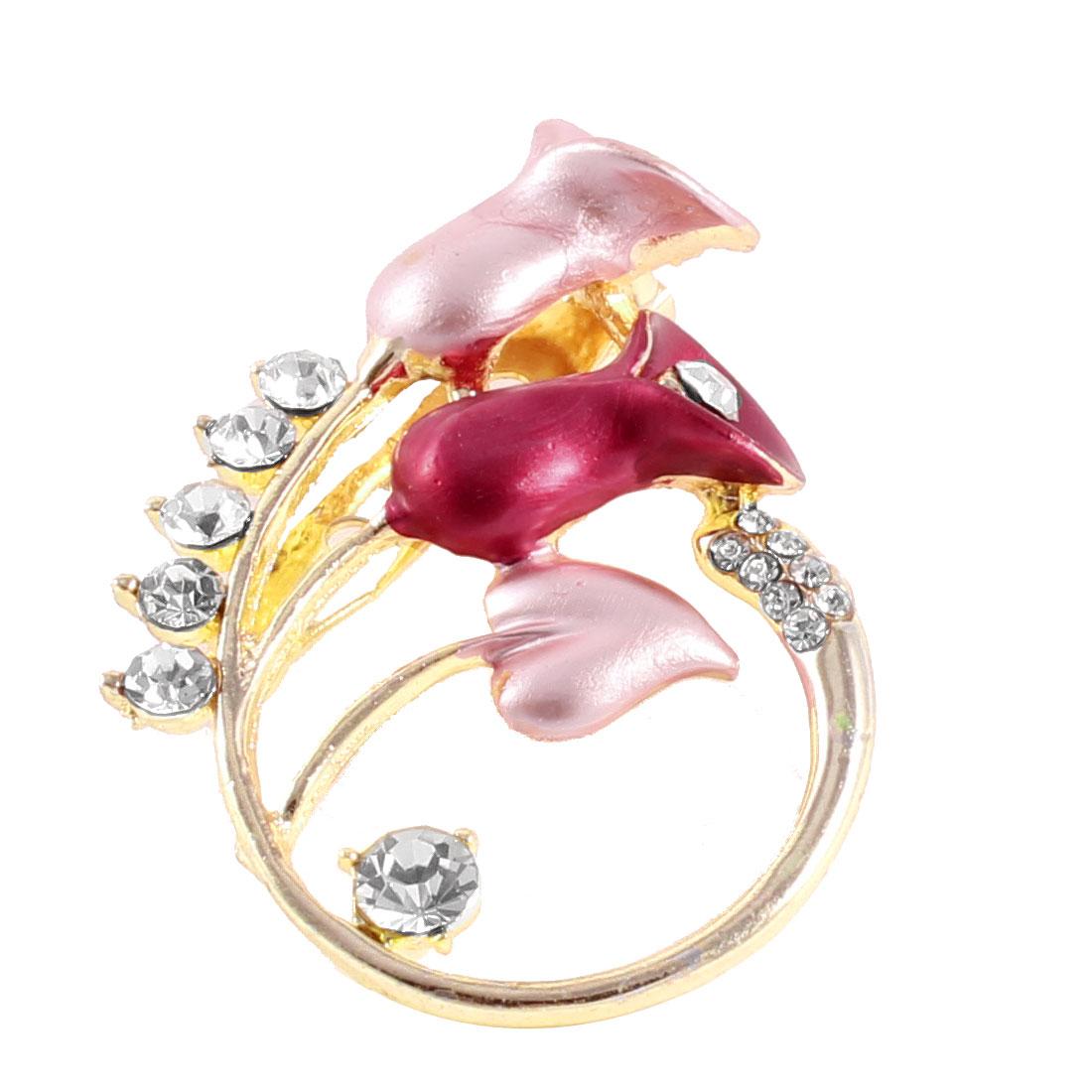 Women Rhinestones Inlaid Pink Burgundy Calla Flower Detailing Pin Brooch Ornament