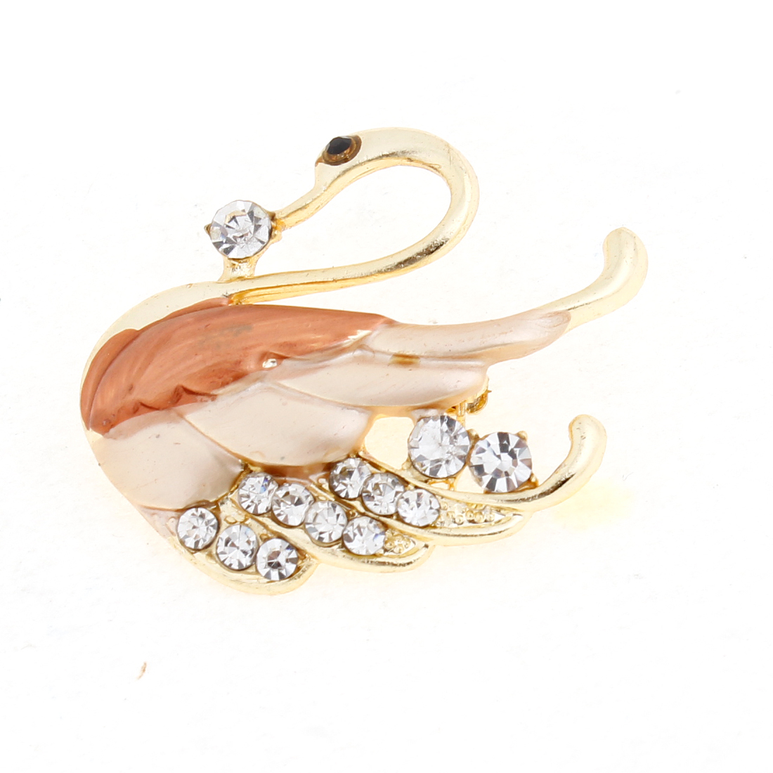 Shiny Rhinestone Embellished Orange Wing Swan Decor Brooch Breast Pin for Ladies