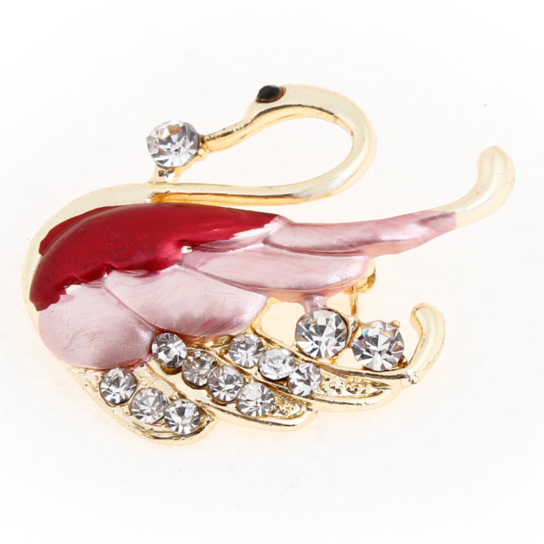 Rhinestone Embellished Red Pink Wing Swan Decor Brooch Breast Pin for Ladies