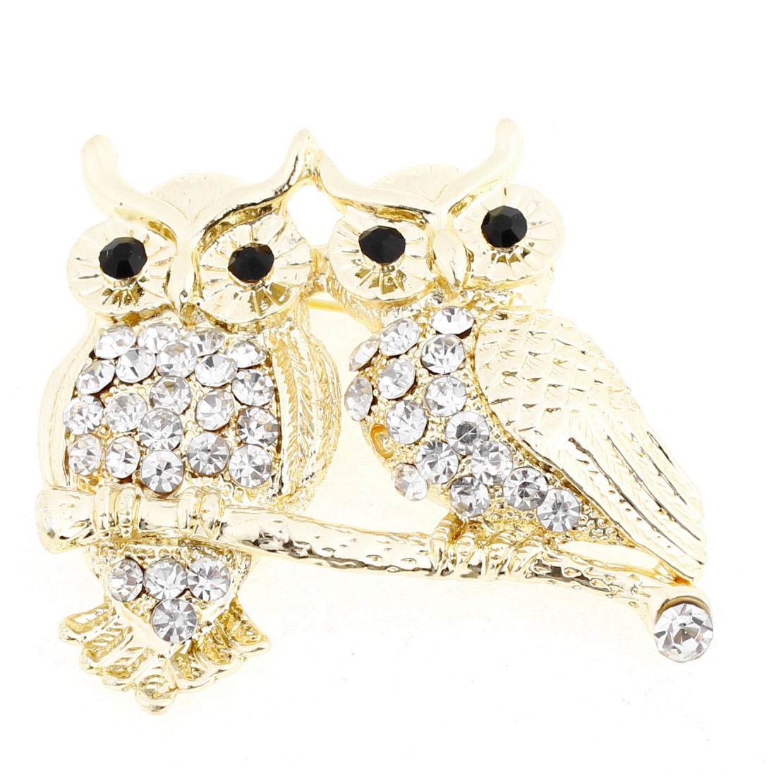 Women Twinkling Rhinestones Inlaid Owl Shape Breast Pin Brooch Gold Tone