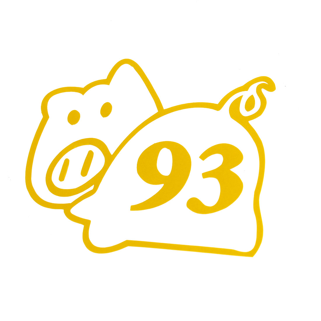 "Vehicle Car Animal Pig Shaped Sticker Ornament Decor Yellow 3.9"" x 3.9"""