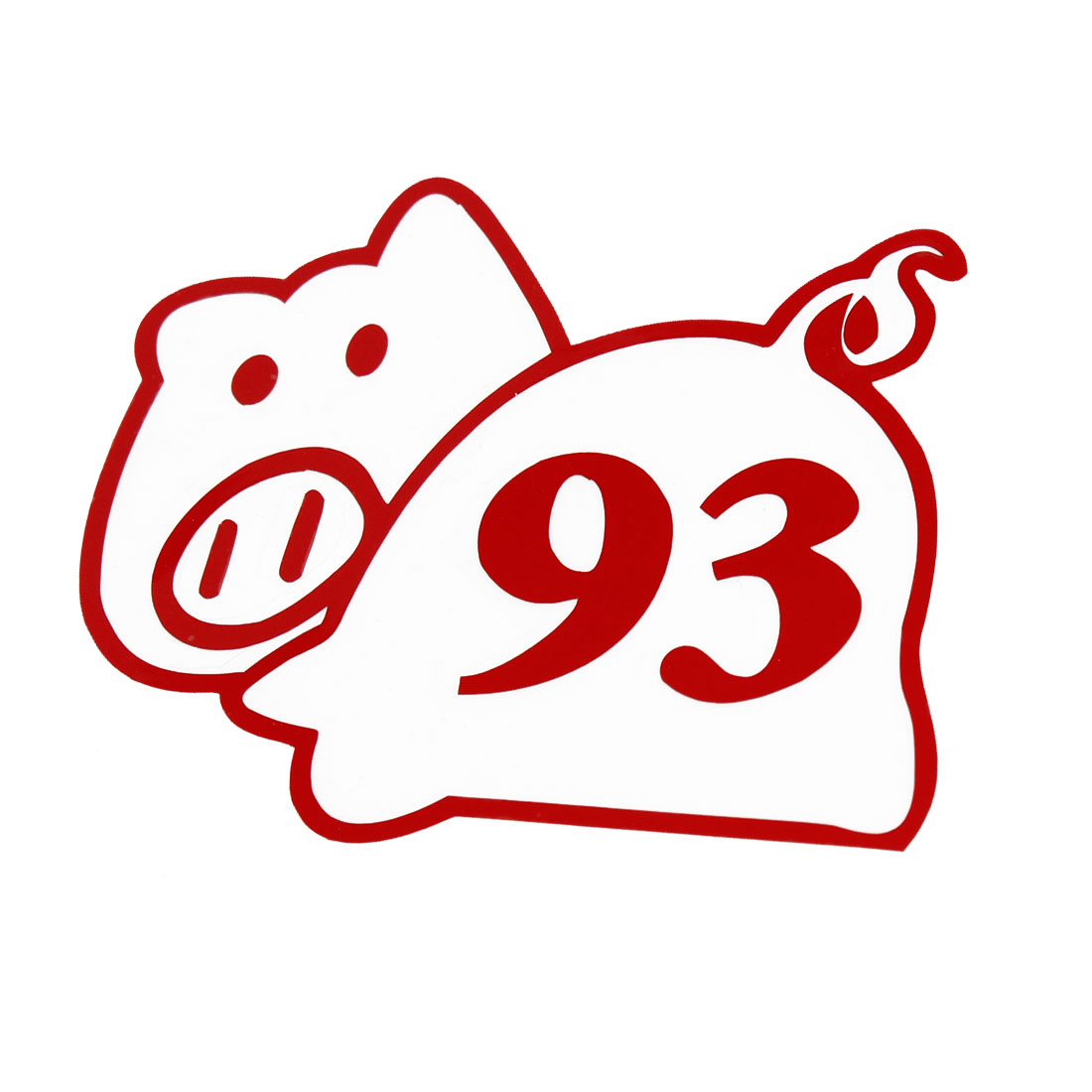 Adhesive Back Red Pig Shape Sticker Decal for Auto Adorn
