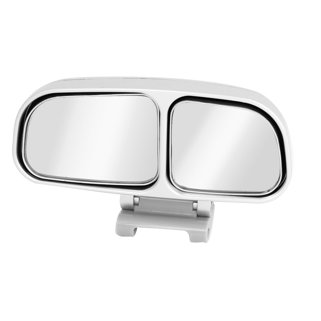 Adhesive Back Silver Tone Frame Left Blind Spot Parking Mirror for Car