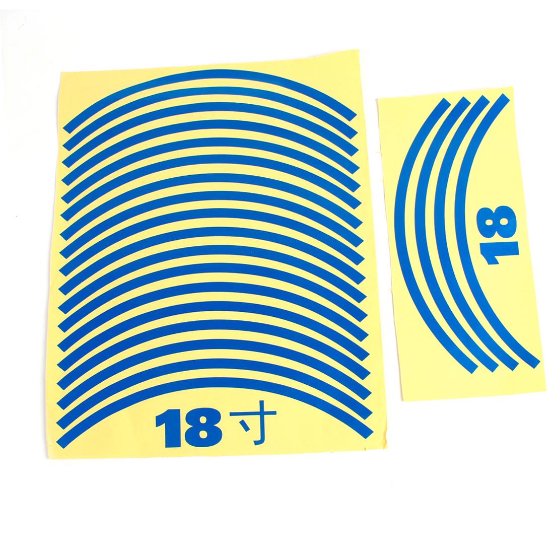 "22pcs 29cm Length Blue Auto Decal Tire Rim Wheel Decoration Sticker for 18"" Wheels"