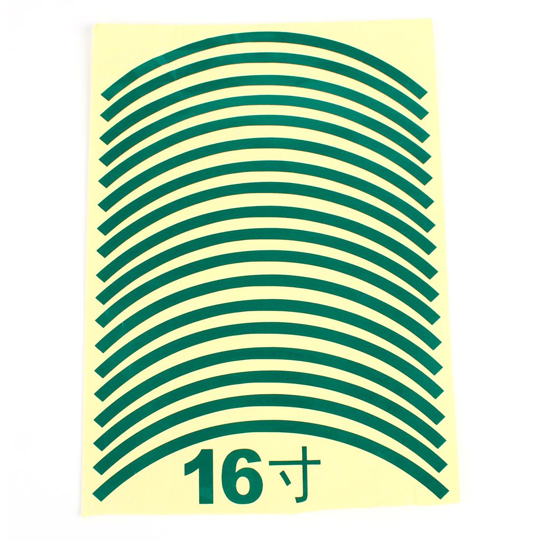 "18pcs 31.5cm Length Car Van Tire Rim Green Decorative Sticker for 16"" Wheels"