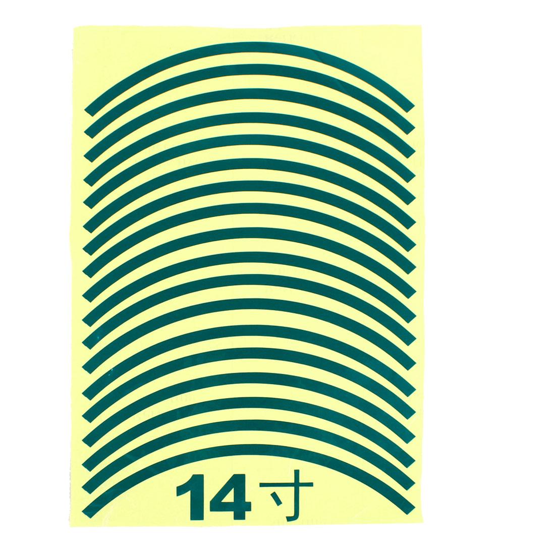 "18pcs 29.5cm Length Car Van Tire Rim Green Decorative Sticker for 14"" Wheels"