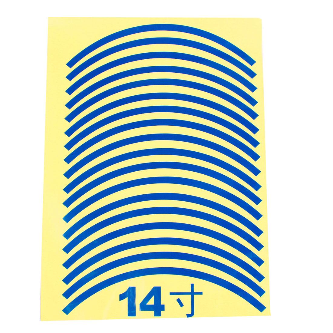 """18pcs 29.5cm Length Car Van Tire Rim Blue Decorative Sticker for 14"""" Wheels"""