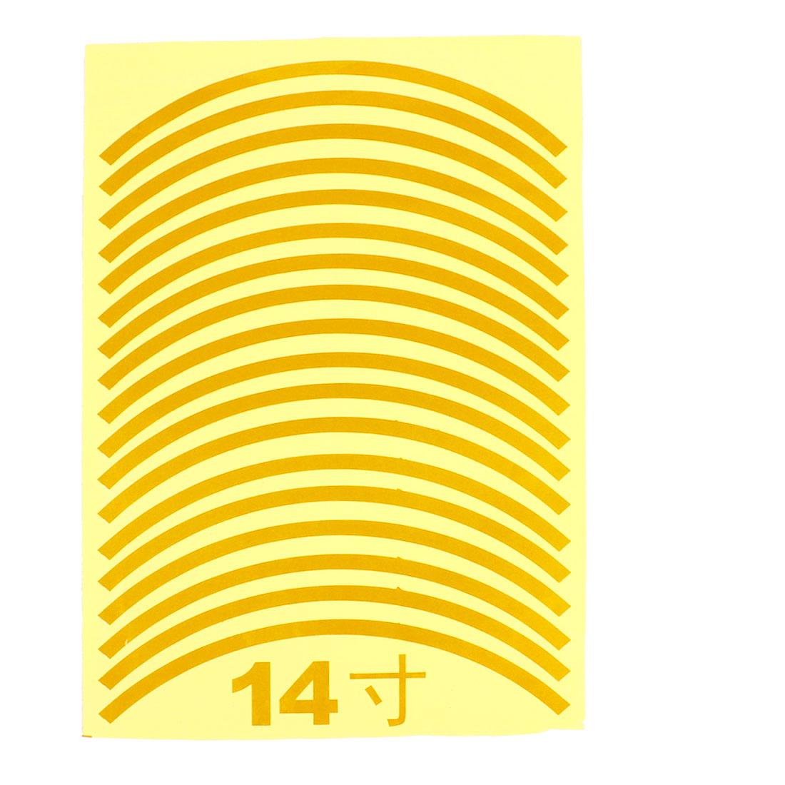 "18pcs 29.5cm Length Car Van Tire Rim Gold Tone Decorative Sticker for 14"" Wheels"