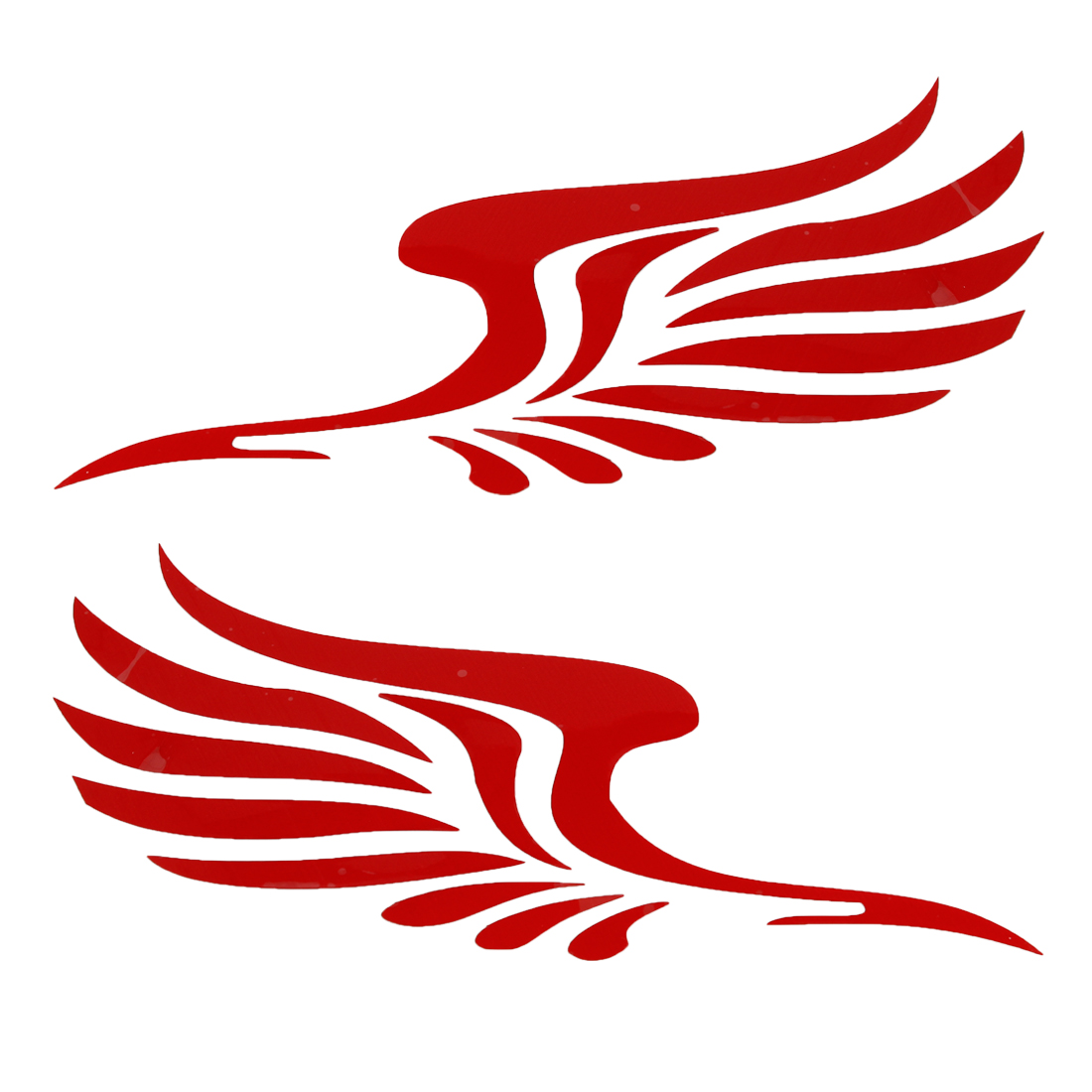 2PCS 15.5cm x 5cm Adhesive Back Red Feather Shape Decal for Auto Adorn