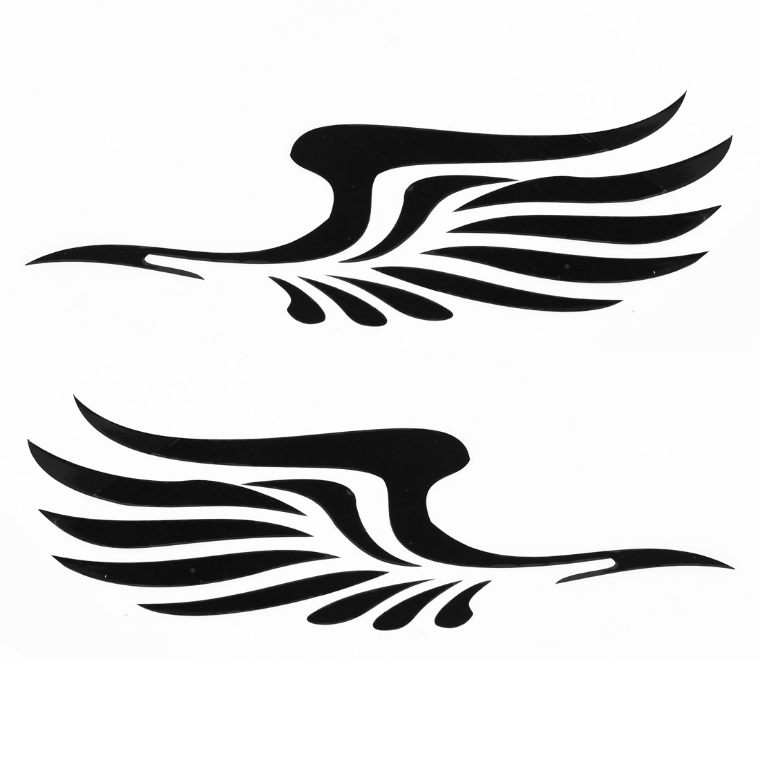 2 x Black Vinly Feather Design Sticker Decal Ornament for Car