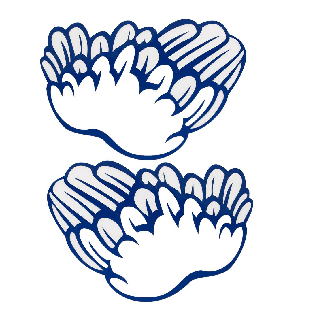 2PCS 12.5cm Long Blue Vinly Feather Design Sticker Decor for Car