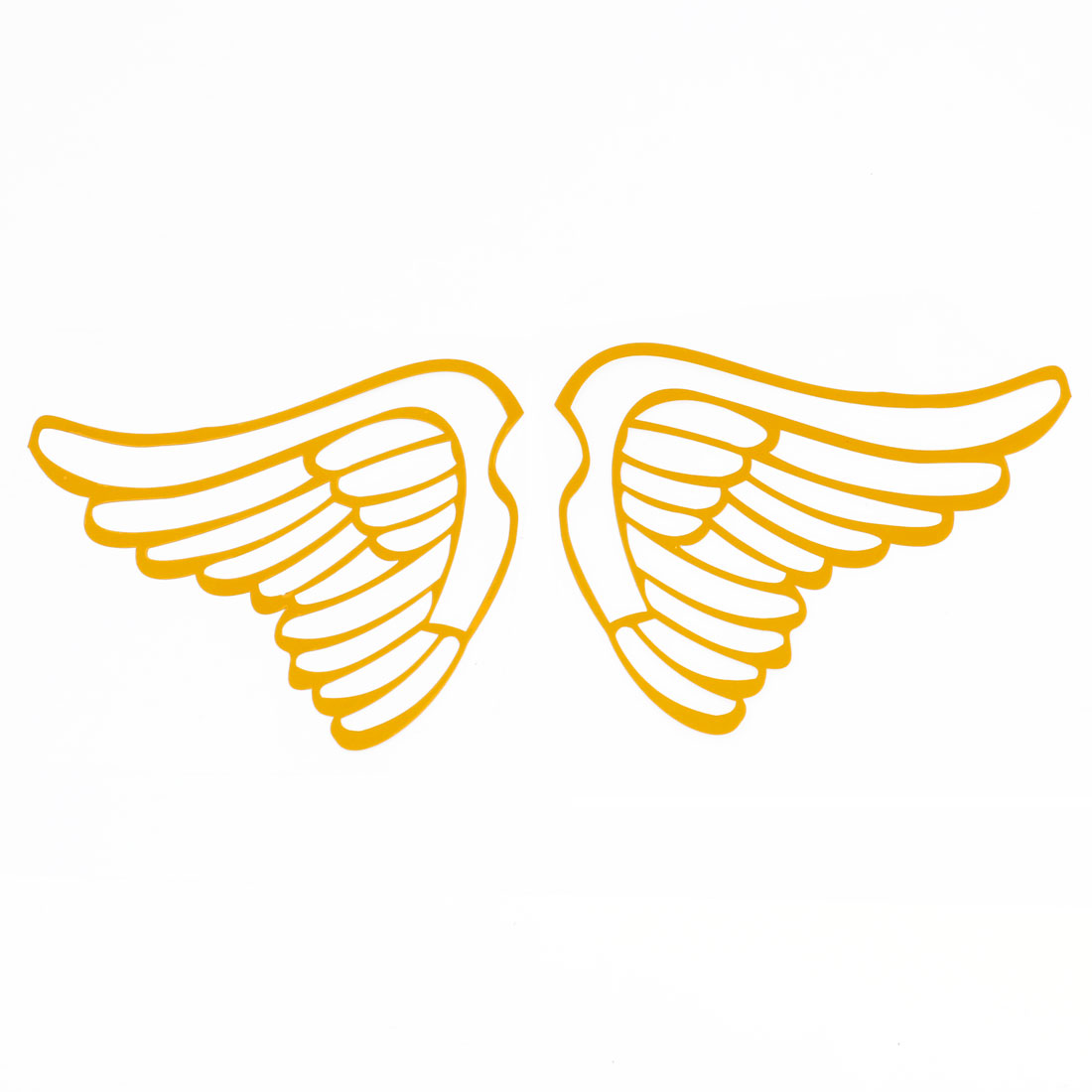 Pair Angel Wings Shape Yellow Decal Sticker for Van Car Truck