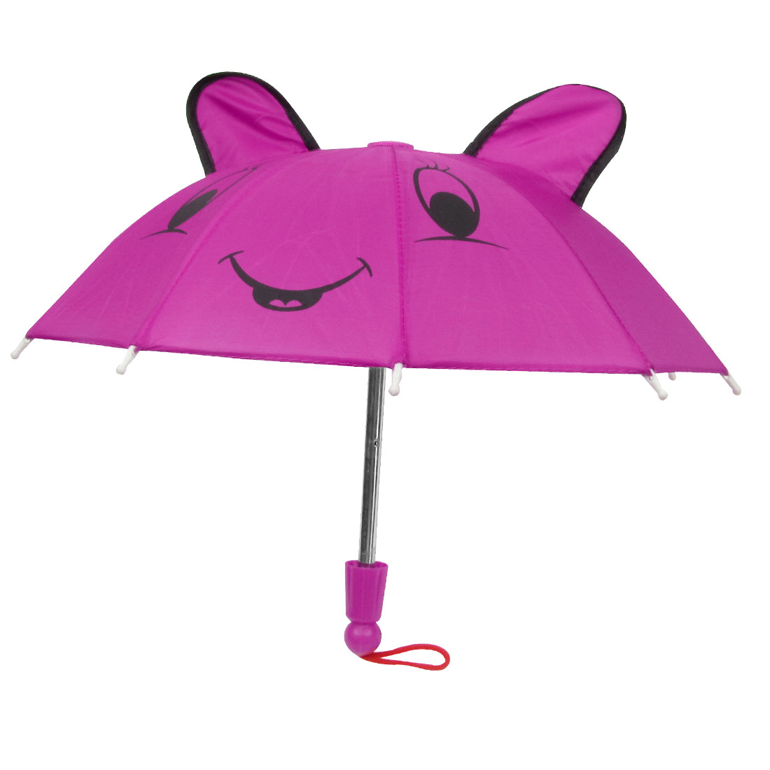 Fuchsia Black Cartoon Mouse Head Print Folding Mini Umbrella Toy for Child