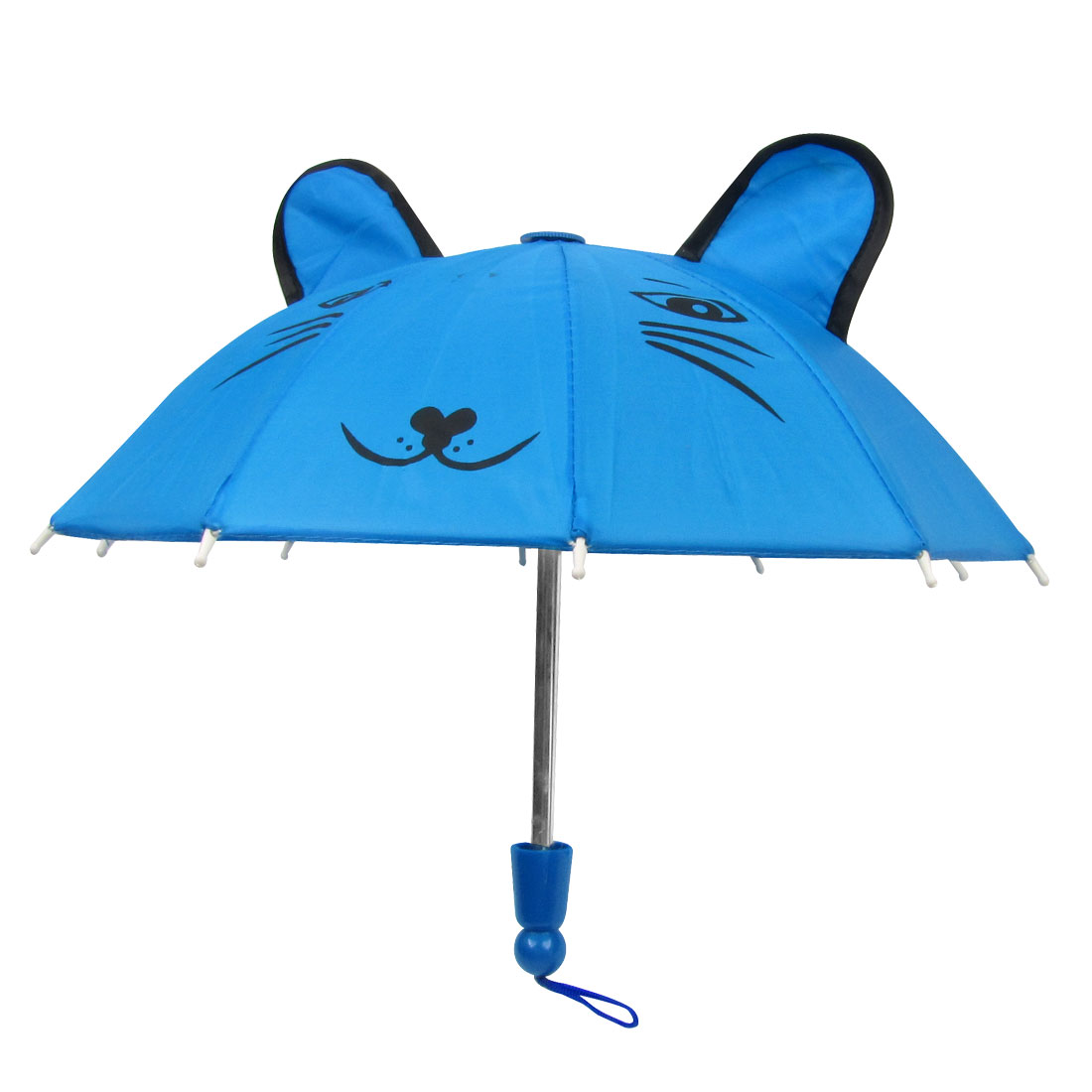 Protable Leopard Head Print 10 Metal Ribs Umbrella Toy Blue for Kids