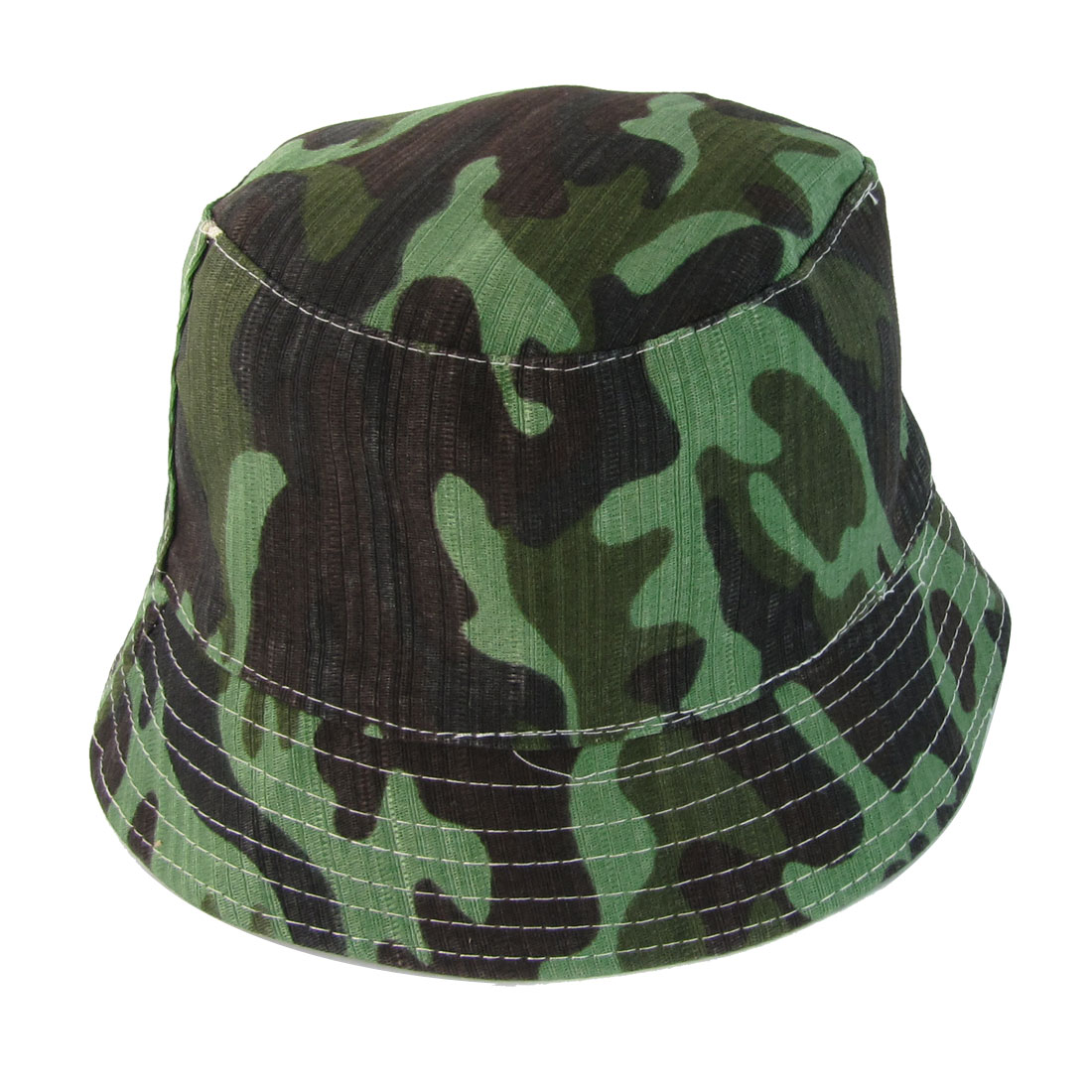 Unisex Camouflage Pattern Stitch Ornament Bucket Cap Hat Army Green