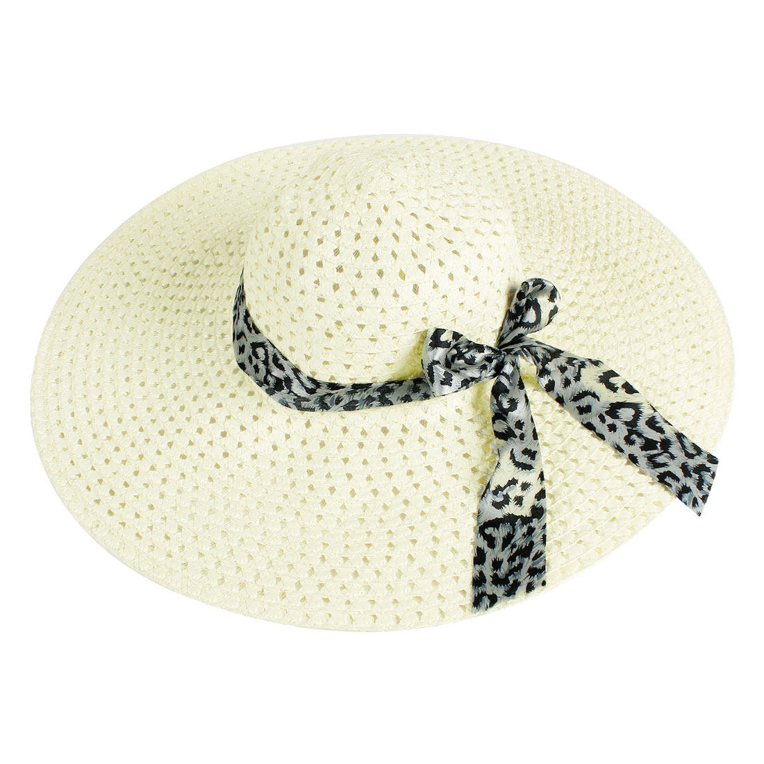 Black Bowknot Strap Hollow Out Design White Sun Hat for Lady