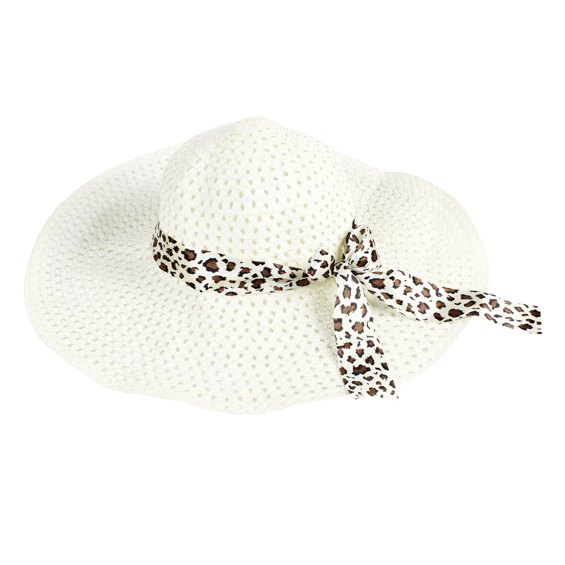Brown Bowknot Strap Hollow Out Design Off White Sun Hat for Lady