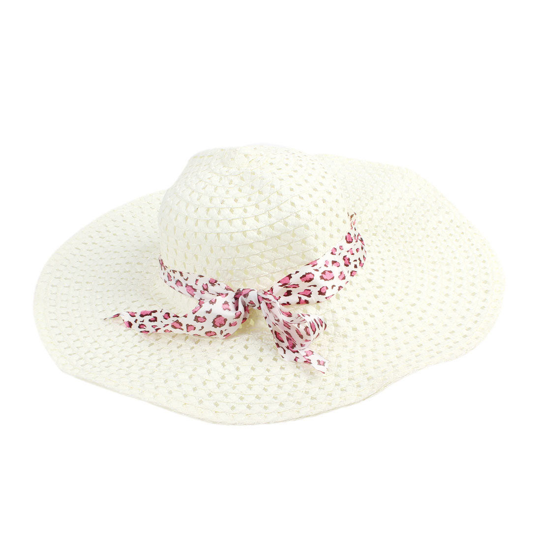 Pink Self Tie Bow Wide Brim Hollow Out Design Beige Straw Hat for Lady