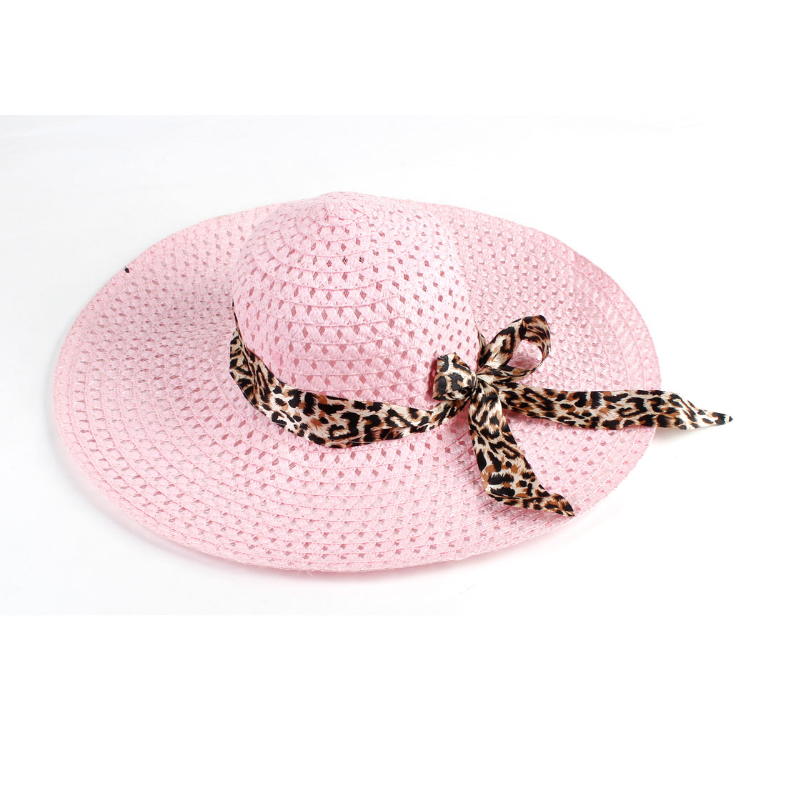 Brown Self Tie Bow Wide Brim Hollow Out Design Pink Beach Sun Hat for Lady