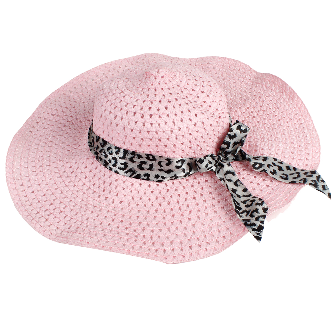 Black Self Tie Bow Wide Brim Hollow Out Design Pink Beach Sun Hat for Lady