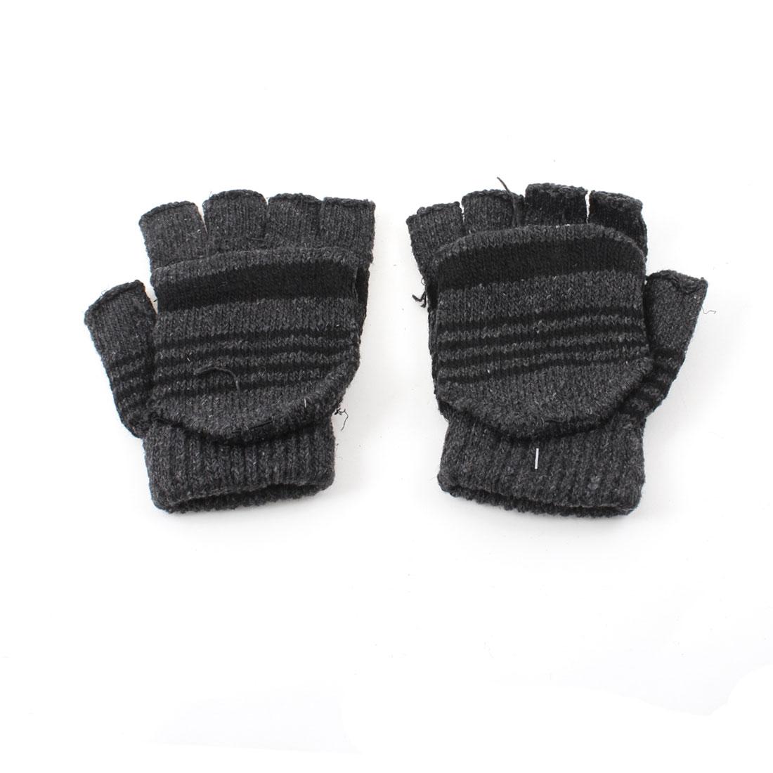 Lady Man Pair Stripe Pattern Elastic Knitted Ribbing Fingerless Gloves