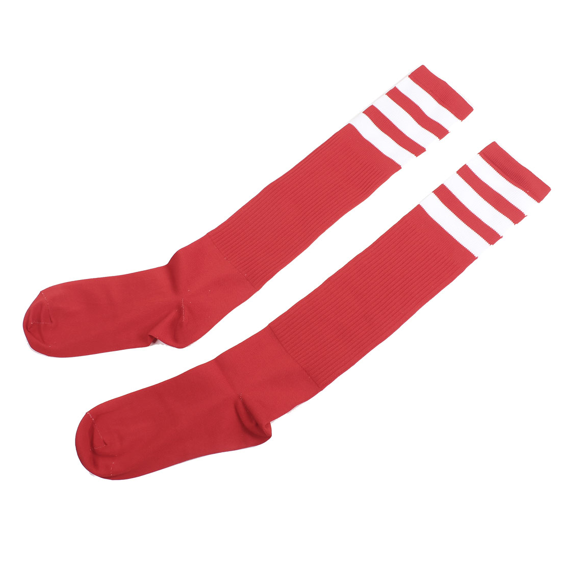 Pair Striped Pattern Spandex Knee High Soccer Socks Red for Men Women