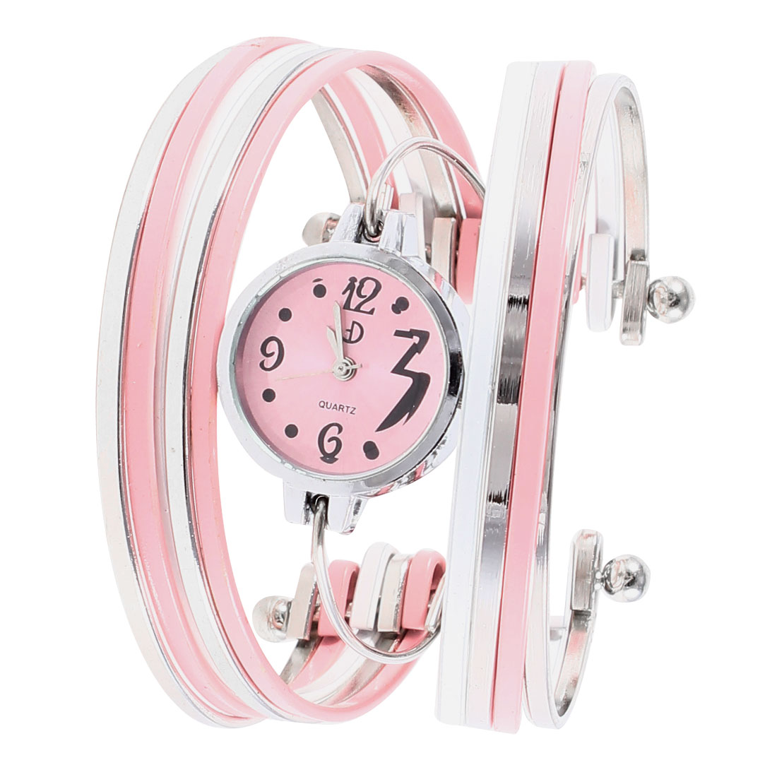 Ladies Pink Silver Tone Multi Layer Alloy Band Bracelet Watch