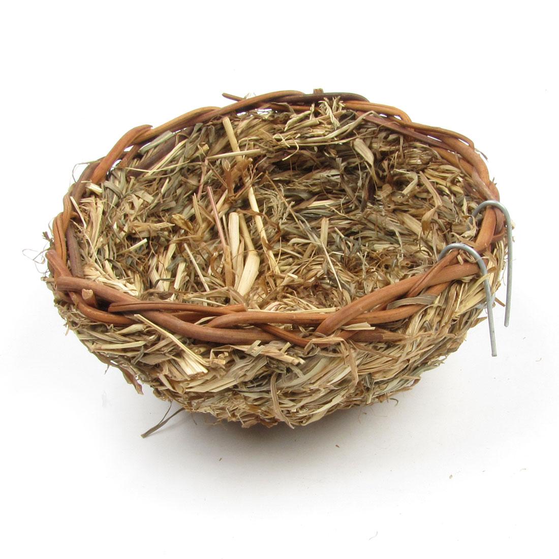 Natural Grass Bowl Shaped Bird Eggs Holder Birdhouse Living House Artificial Nest