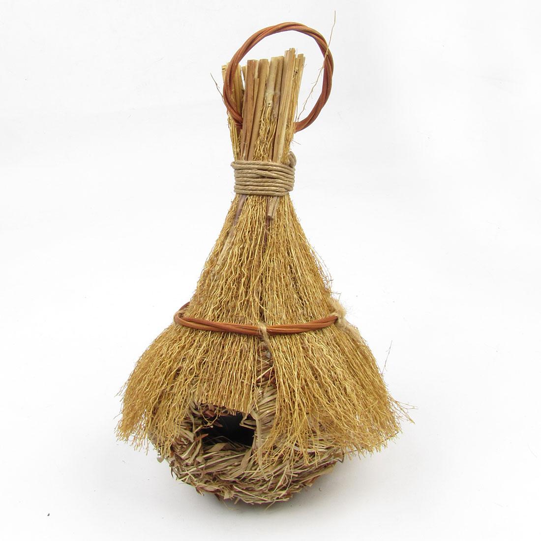 Garden Decor Natural Grass Artificial Birdhouse Home Nest Nesting Wood Color
