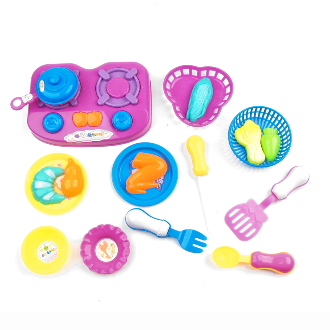 Kid 18 in 1 Assorted Color Plastic Gas Cooker Spoon Fork Pretend Play Toy kit
