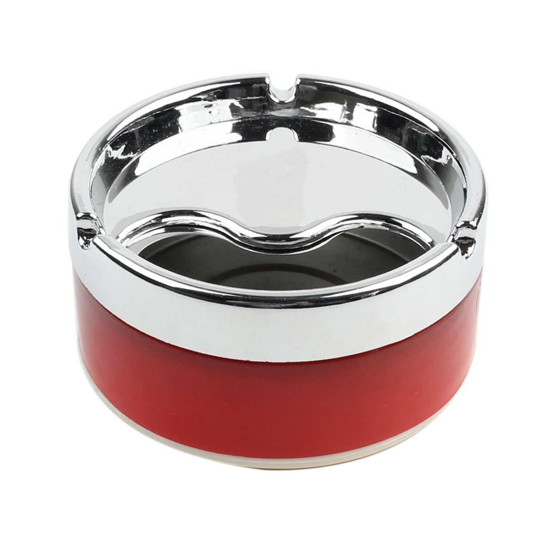 Silver Tone Stainless Steel Rotating Lid Cigarette Smoking Ashtray Red