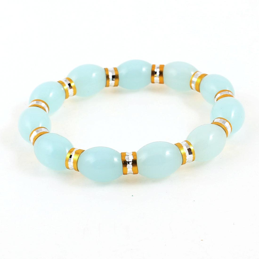 Women Party Baby Blue Plastic Oval Beads Stretch Bracelets Bangles