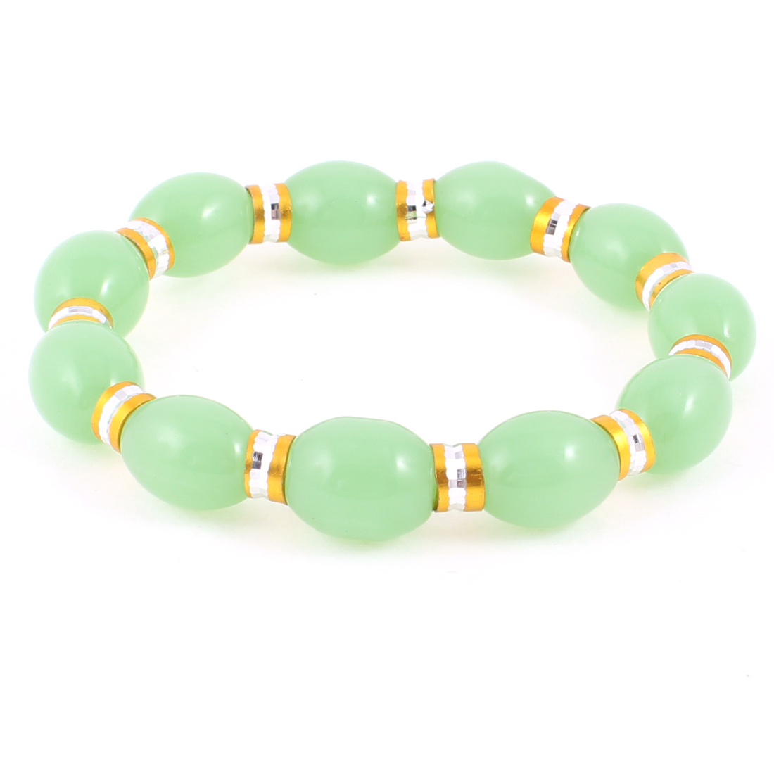 Women Party Light Green Plastic Oval Beads Stretch Bracelets Bangles