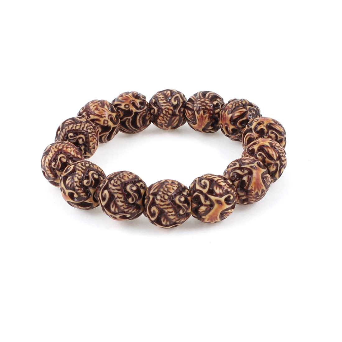 Chinese Characters Carving Plastic Bead Bracelet Brown Chocolate Color for Unisex