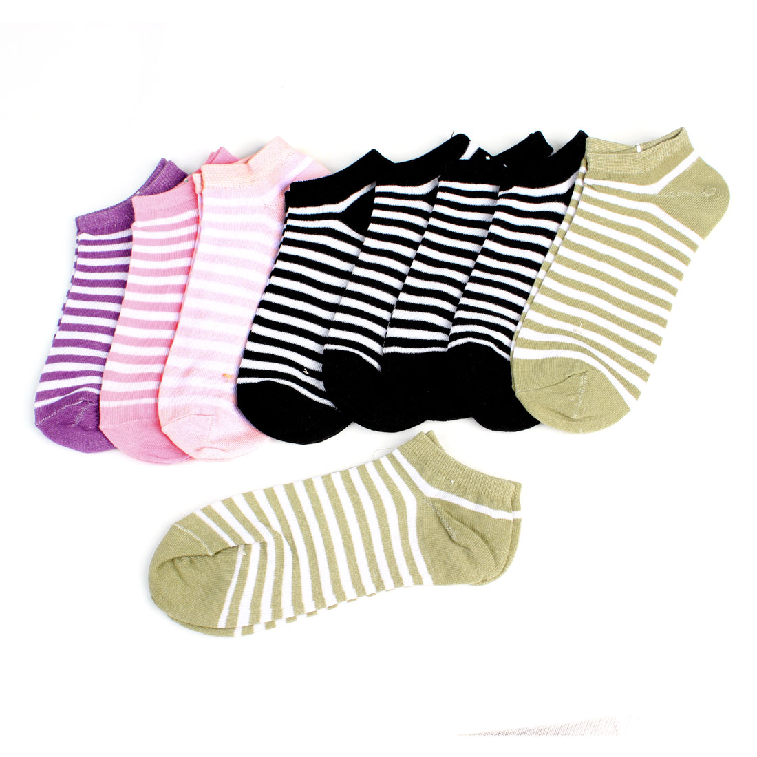 Woman Lady Assorted Color Short Low Cut Sport Socks 9 Pairs