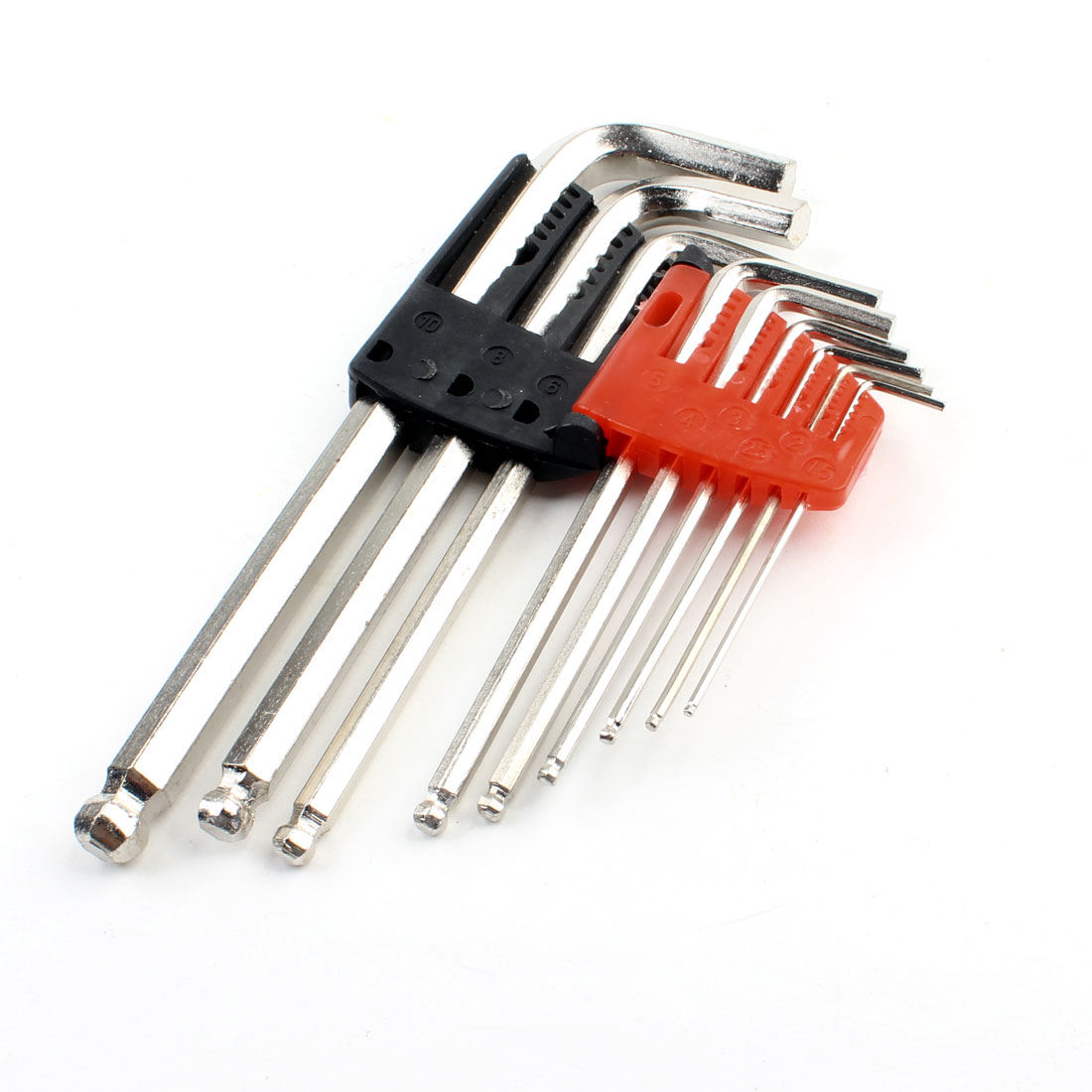 9 in 1 Set Silver Tone 1.5mm-10mm Hexagon Hex Key Wrench Handy Driver Tool