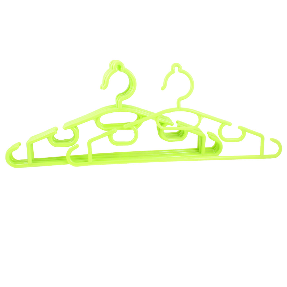 Light Green Plastic Wardrobe Garment Coats Trousers Clothes Hanger 5 Pcs