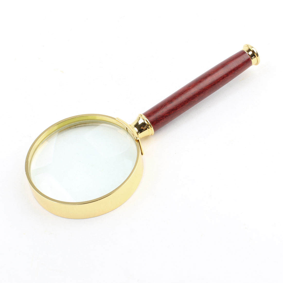 50mm Diameter 5X Optical Lens Rosewood Handle Gold Tone Frame Magnifying Glass