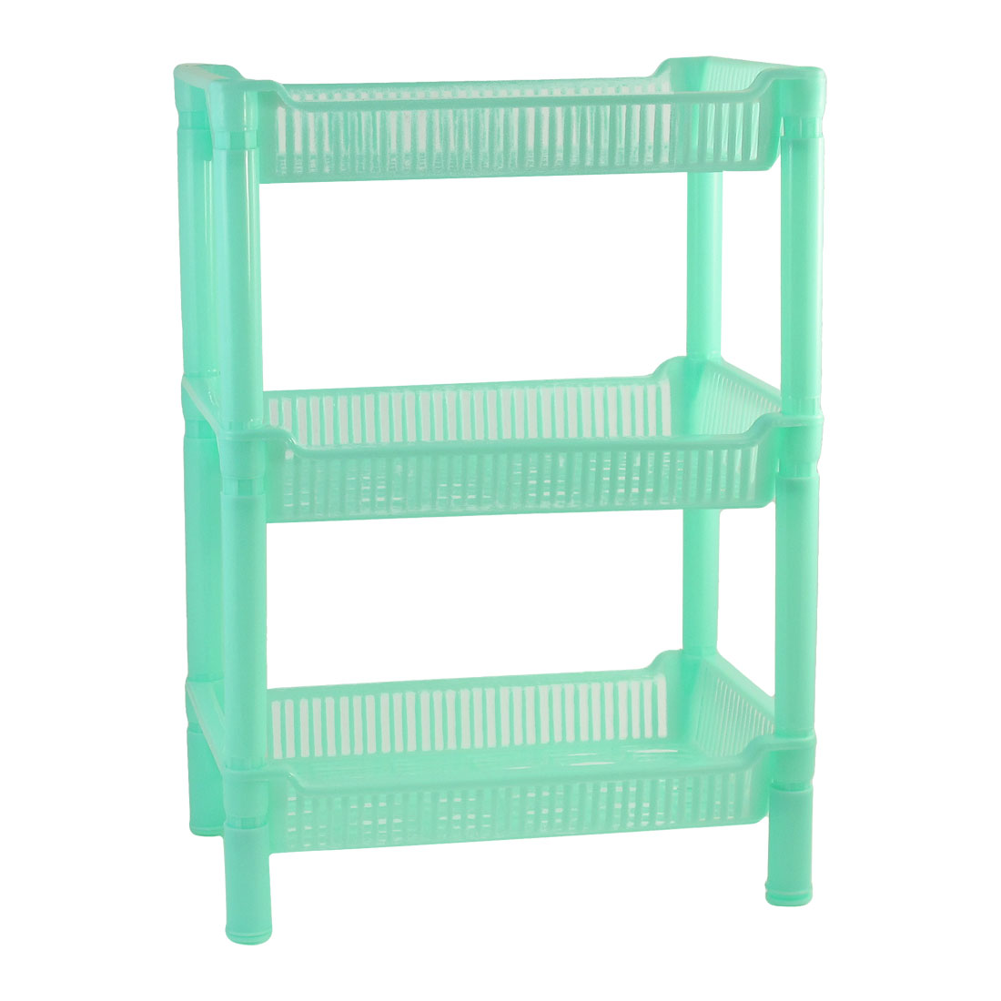 Household Rectangular Turquoise Plastic 3 Layers Shelf Storage Rack Organizer