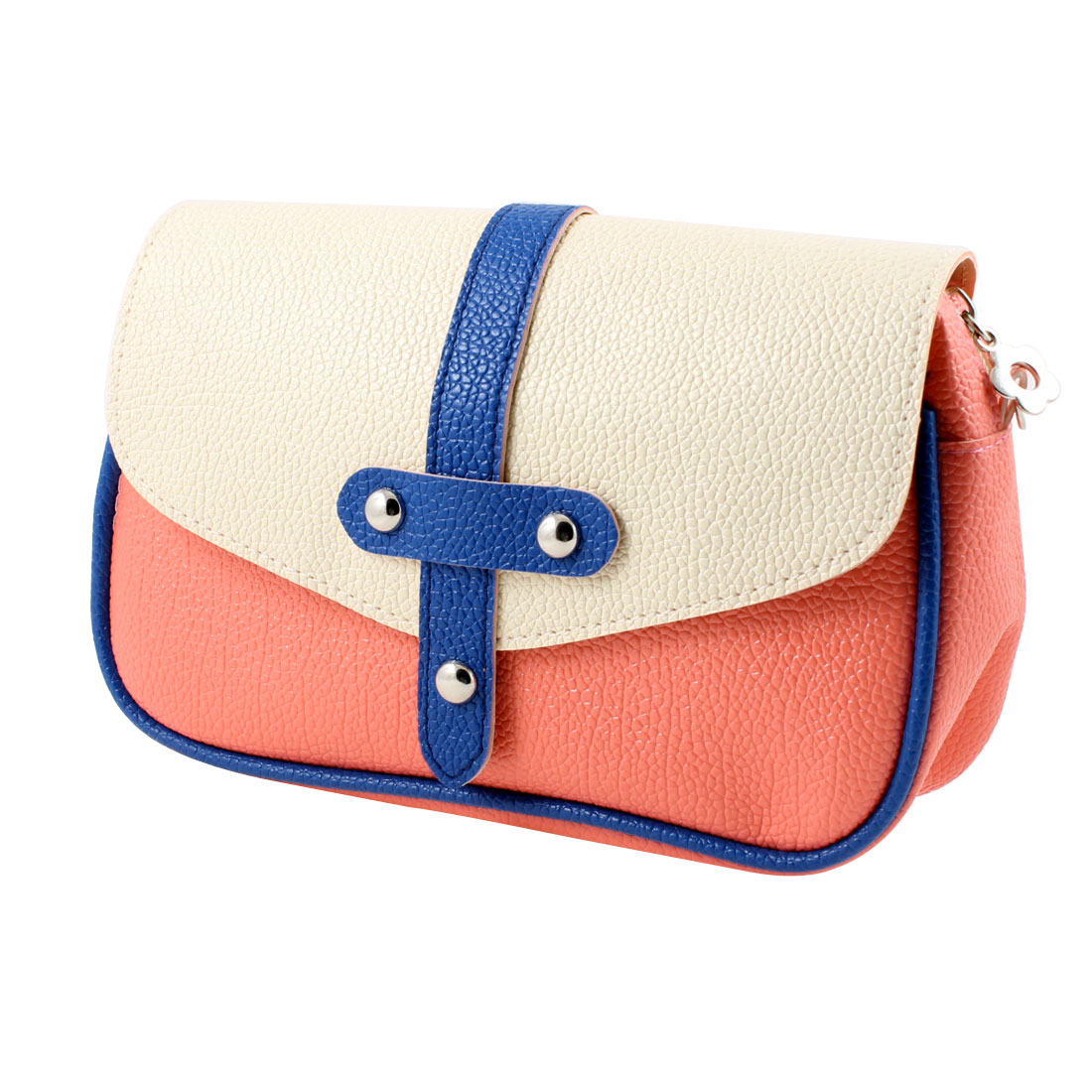 Lady Coral Pink Blue Pure Pattern Faux Leather Handbag Purse