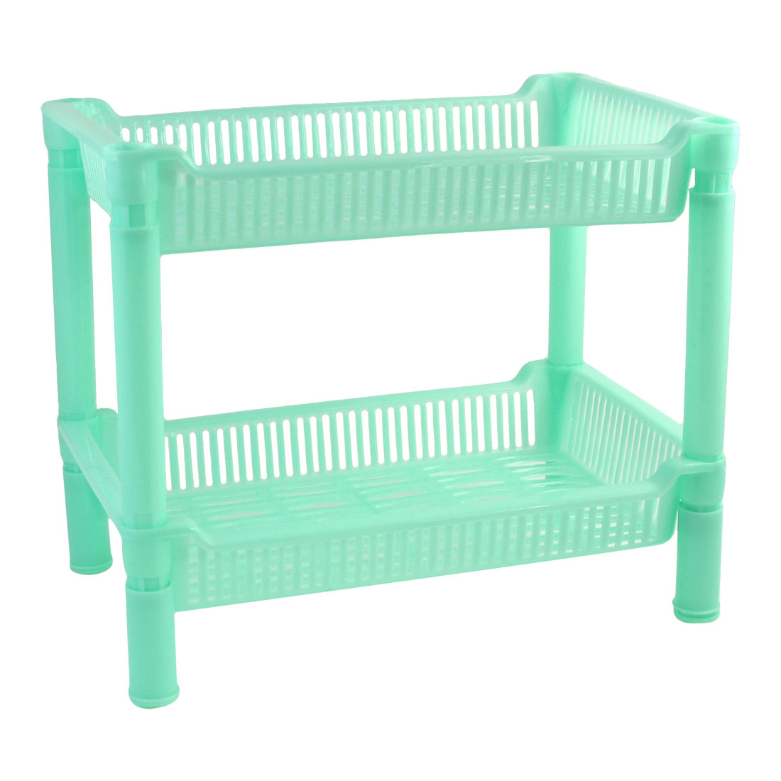 Home Kitchen Rectangular Plastic 2 Layers Shelf Soap Turquoise Storage Rack