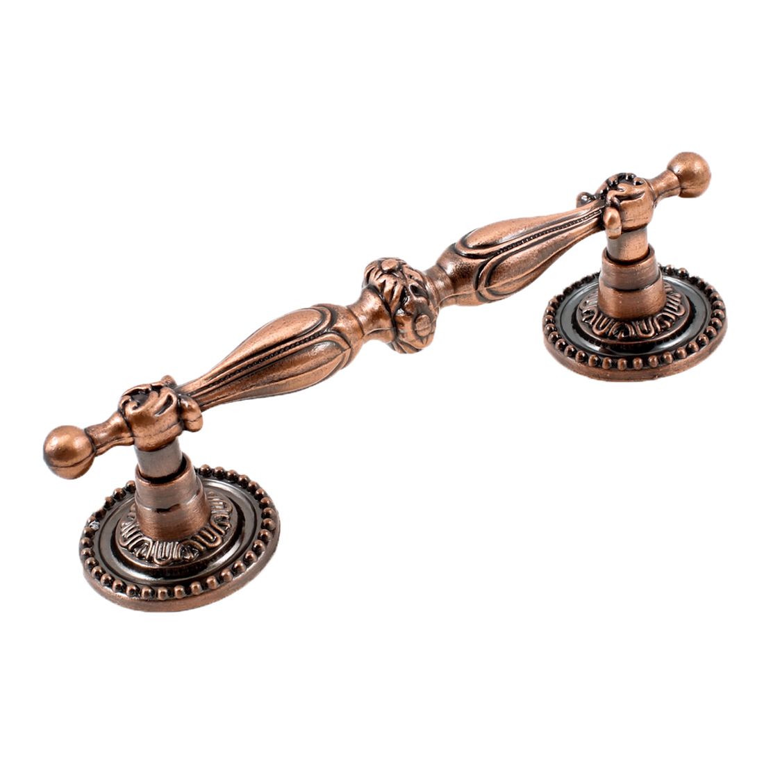 "4.9"" Length Floral Carved Furniture Door Pull Handle Copper Tone"