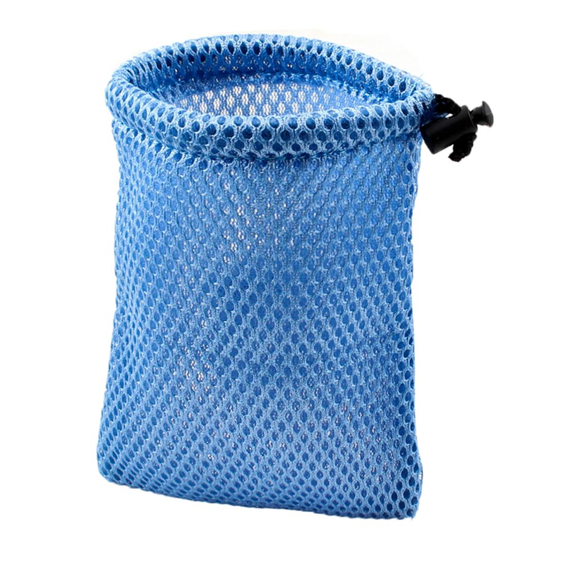 Car Accessory Blue Mesh Nylon Black Drawstring Glasses Money Phone Pouch