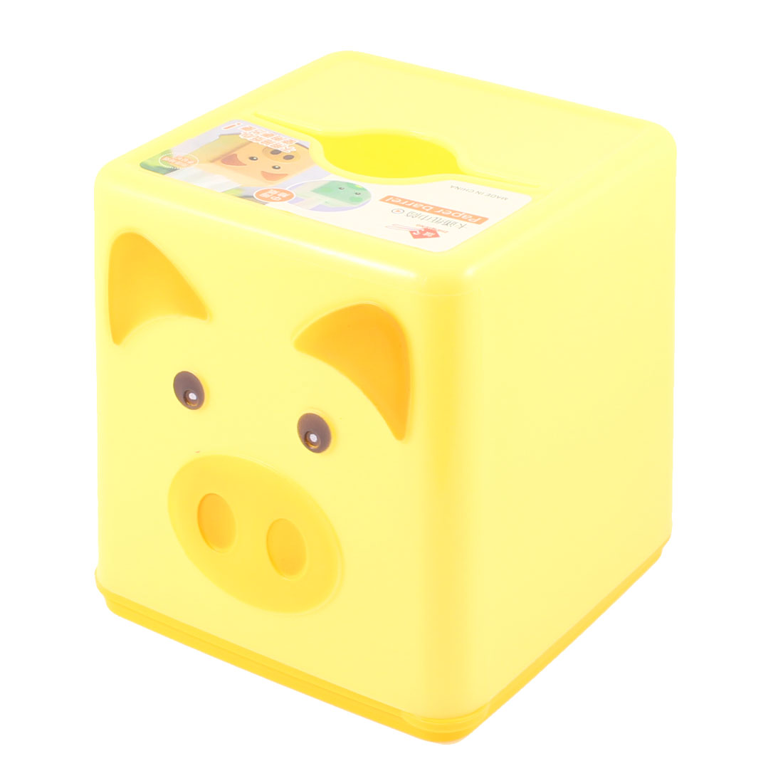 Home Resturant Yellow Orange Bear Printed Plastic Case Paper Tissue Box