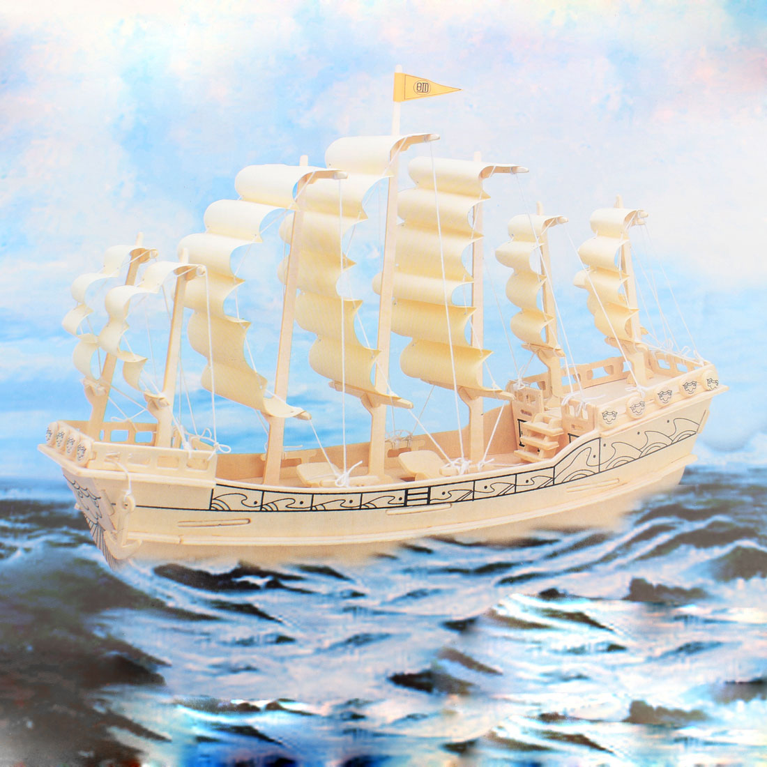 Cubic Ancient Style Sailboat in Ming Dynasty Wooden Puzzle Toy for Kids