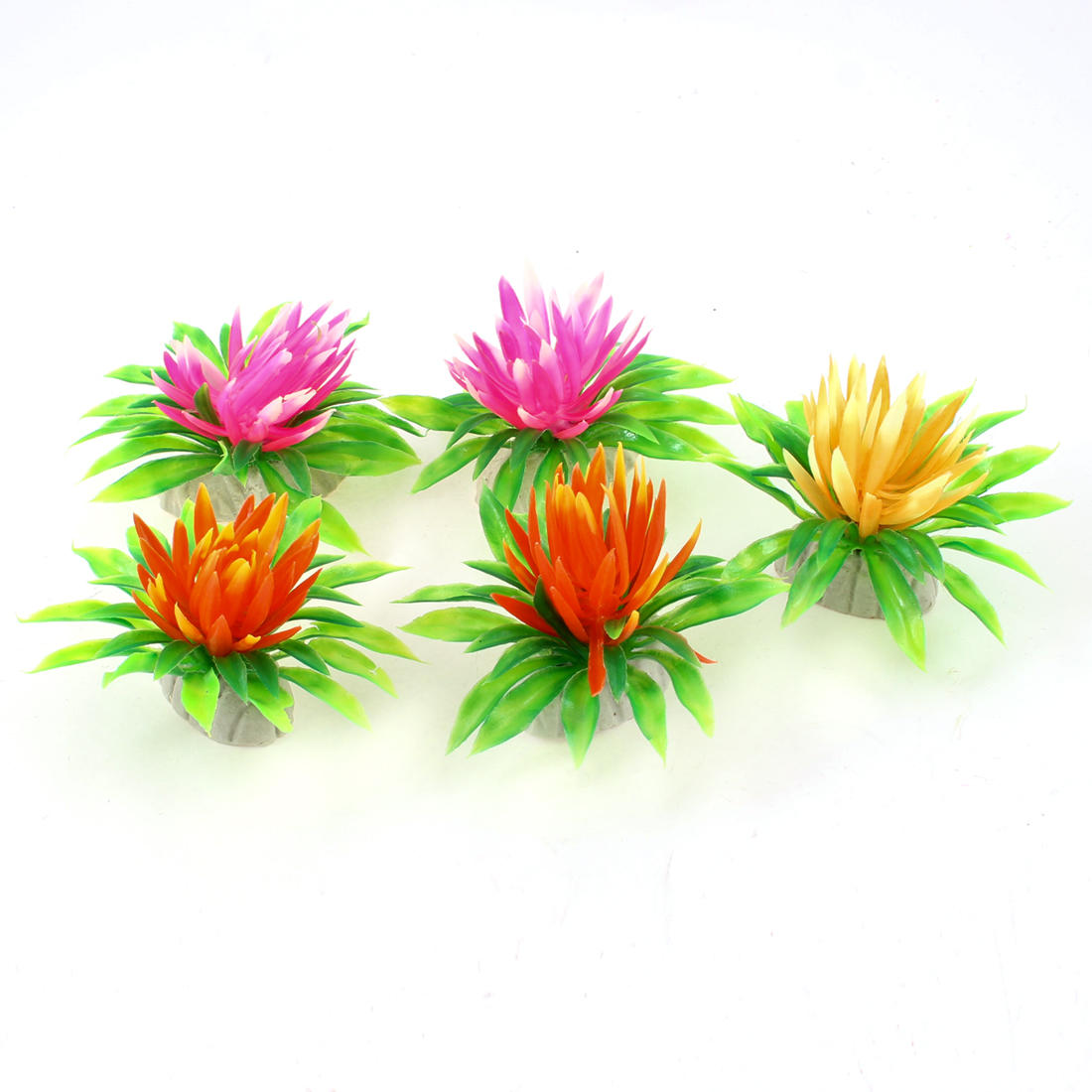 "2.4"" Height Plastic Fish Tank Aquarium Floral Aquatic Multicolor Grass Plant 5 Pcs"