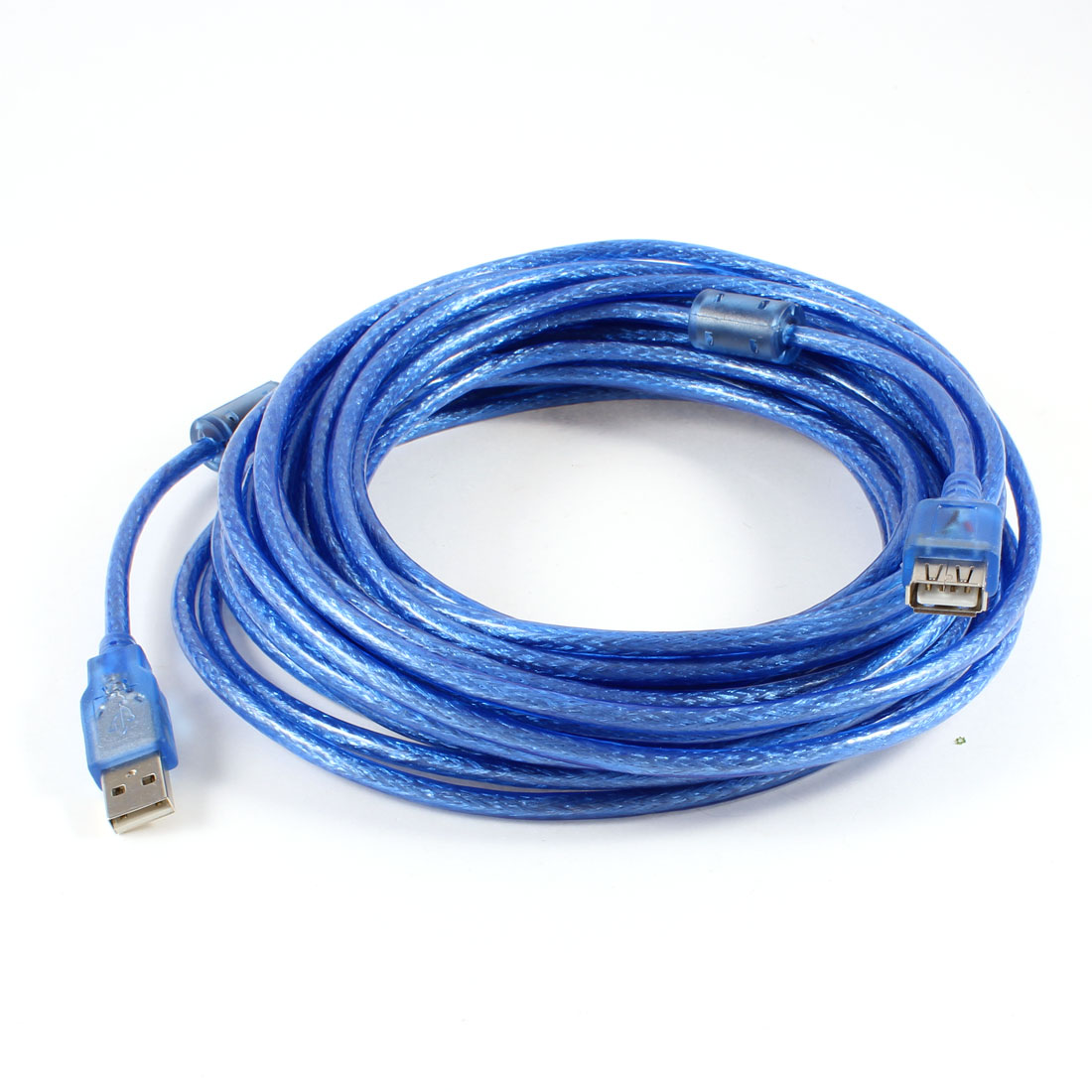 10M USB 2.0 A Male to Female Extension Cable Clear Blue for PC Laptop